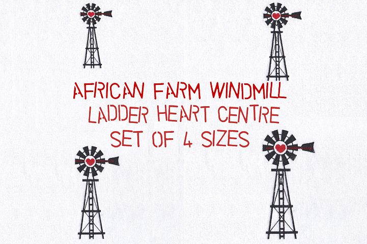 Windmill Red Heart Middle Center Machine Embroidery File