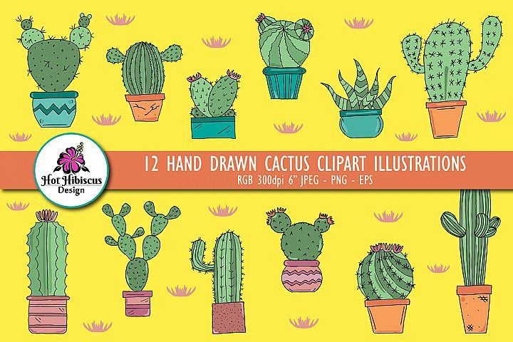 Hand Drawn Cactus Clipart Illustrations Pack PNG JPEG EPS