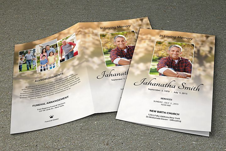 Memorial Funeral Program Template example image 1