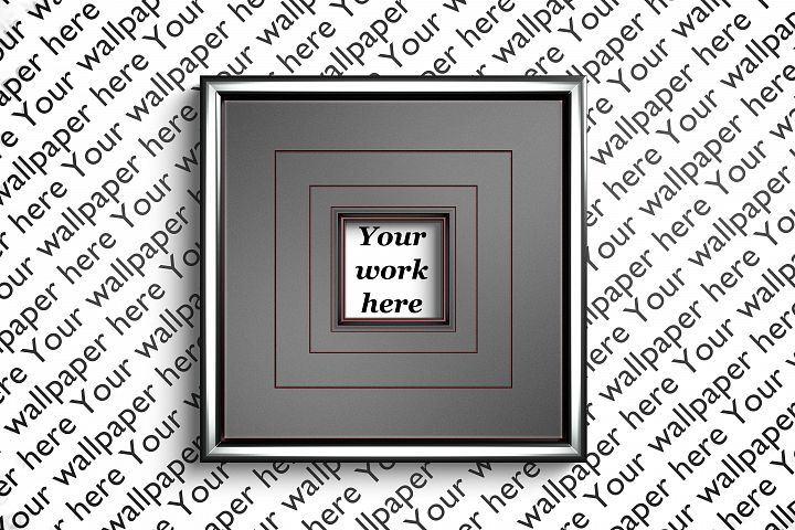 Silver and red mockup square frame with transparent backdrop