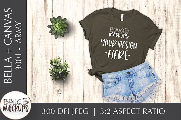 Bella Canvas 3001 Womans T Shirt Mockup, Army Green Flatlay