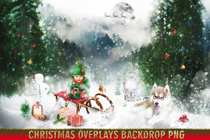 150 Christmas, overlays, photoshop PNG clipart backdrop