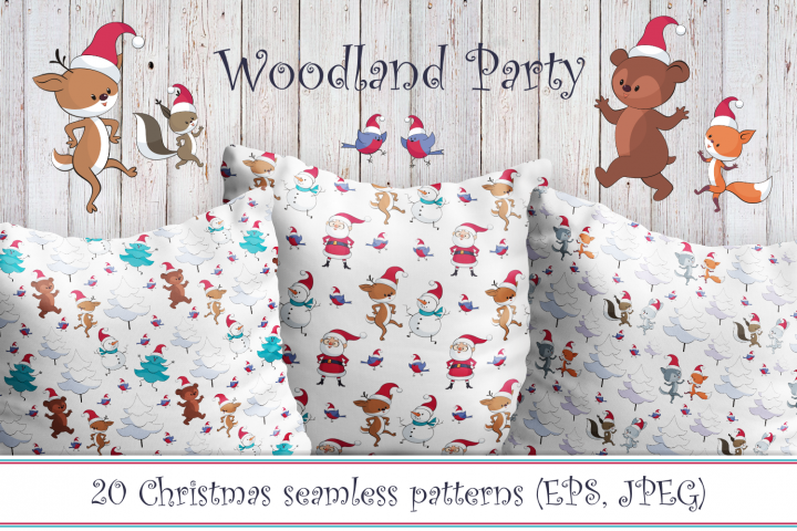 Woodland party. Christmas seamless patterns with cute animas