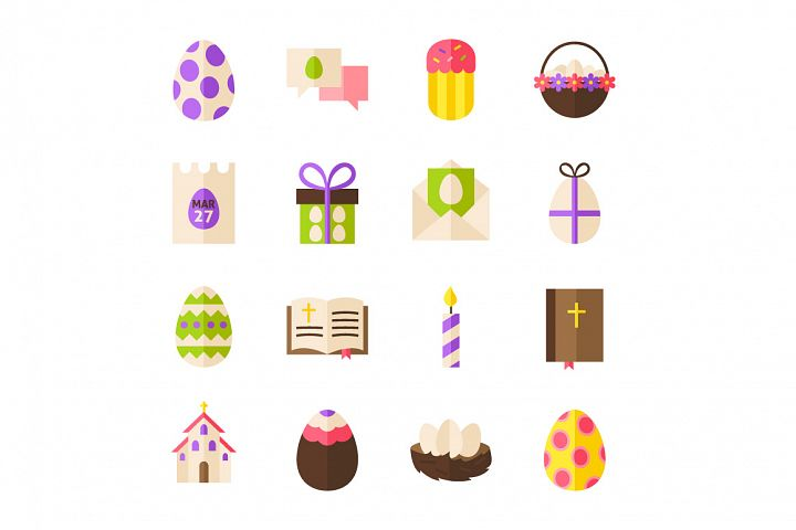 Happy Easter Vector Isolated Objects example 2