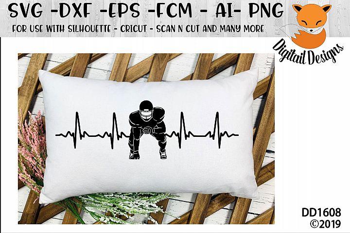 Football Player EKG Heartbeat SVG