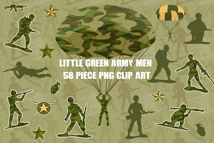 Little Green Army Men Clip Art