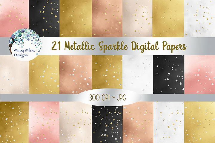 Metallic Sparkle Digital Paper Set