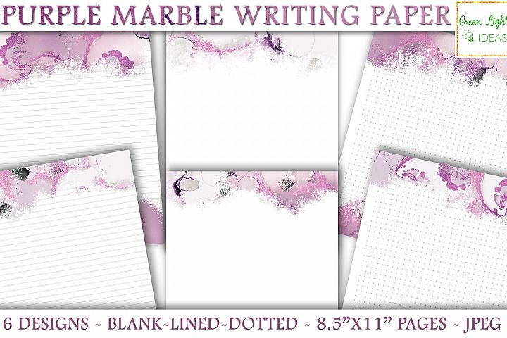 Purple Marble Writing Paper, Printable Stationery Note Paper