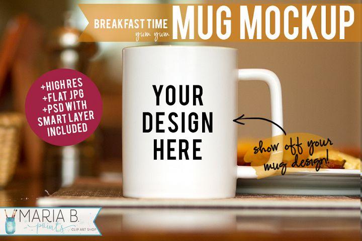 Breakfast Time White Mug Mockup