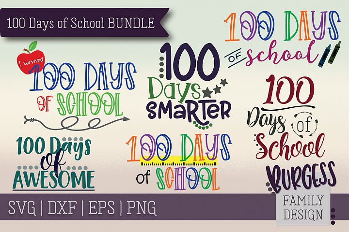 100 days of school Mini Bundle | SVG DXF EPS PNG