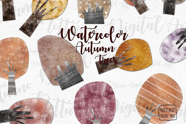 Watercolor Autumn Trees