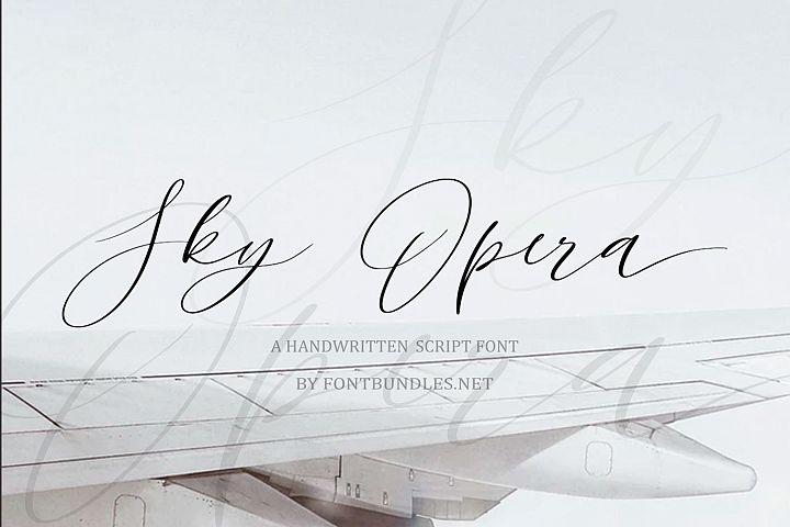 Sky Opera. A Handwritten Script Font