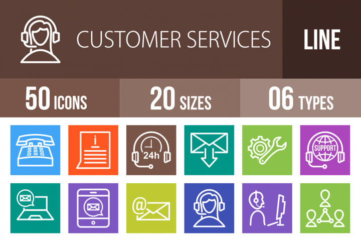 50 Customer Services Line Multicolor B/G Icons