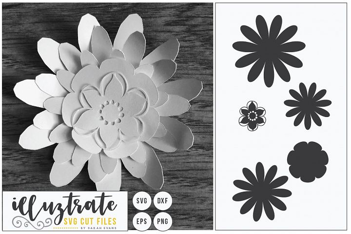Paper Cut Flower, 3D Flower SVG Cut, Paper Flower Design