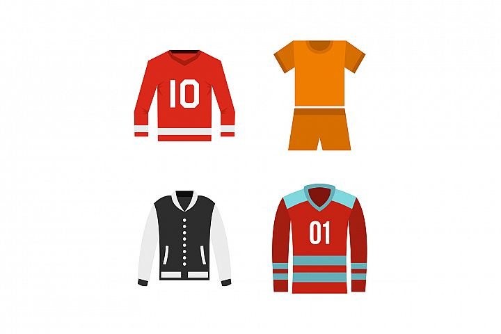 Sport clothes icon set, flat style