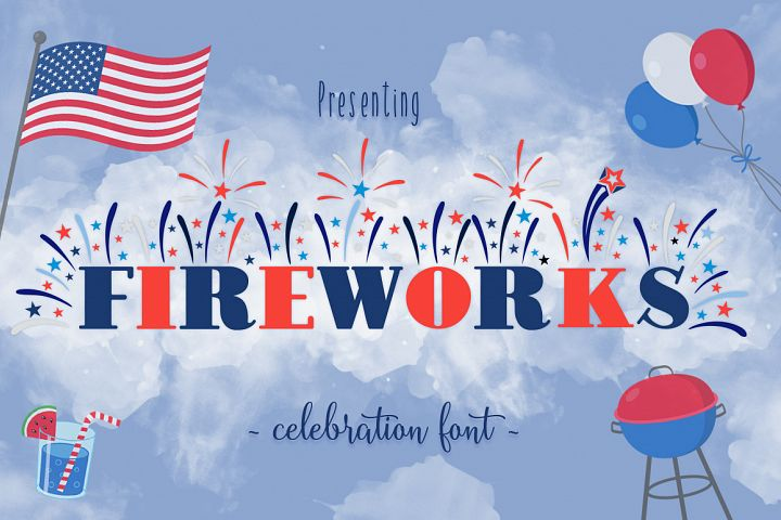 Fireworks: Independence Day / 4th of July Font Family + Extras