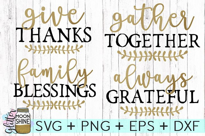 Thanksgiving Phrases Bundle SVG DXF PNG EPS Cutting Files