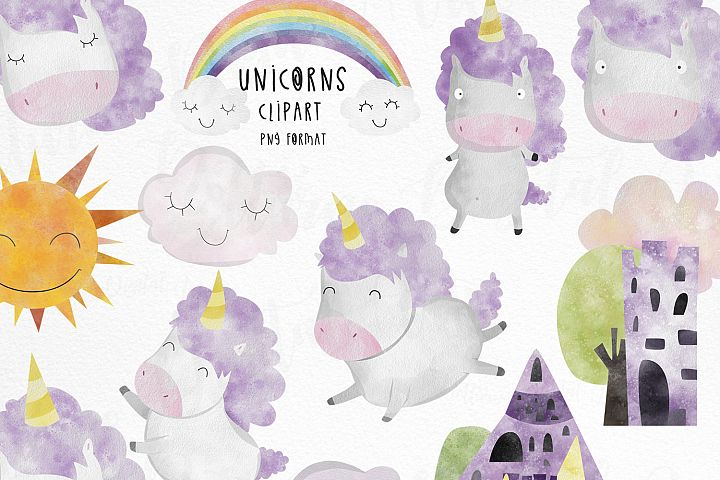 Watercolor Unicorn clipart commercial use.