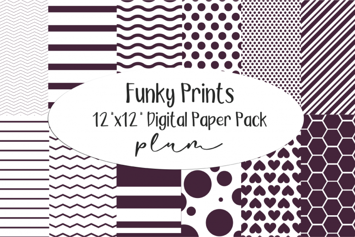 Funky Prints 12x 12 Dark Plum Digital Paper Pack