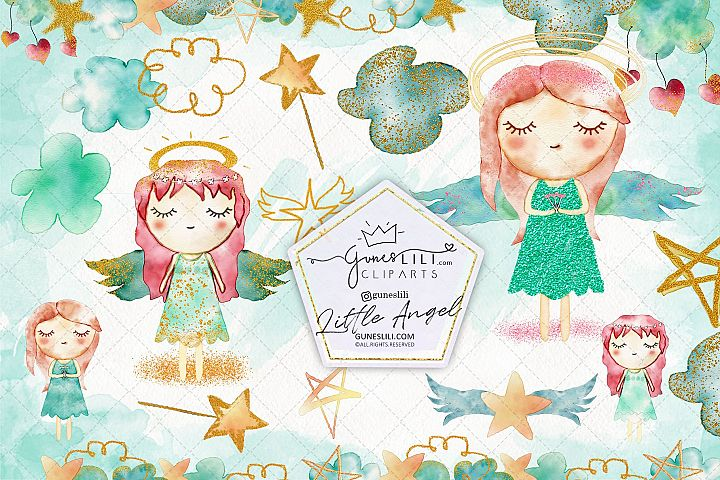 Watercolor Baby Angel Clipart Cute Baby Girls illustration
