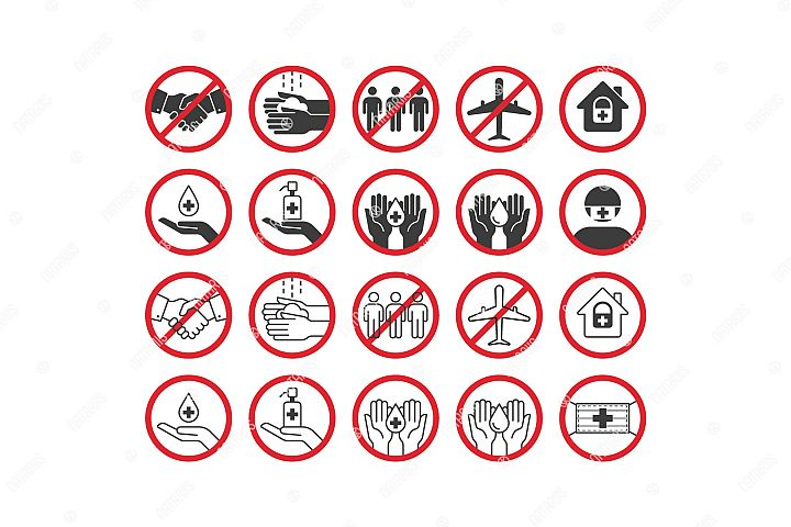 Big set of remedies and virus prevention icons.