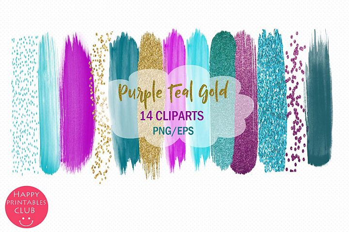 Purple Teal Gold Brush Strokes Clipart-Clipart Brush Stroke