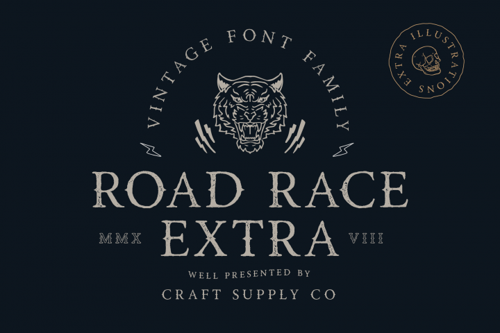 Road Race Extra Font Family Bonus Illustrations