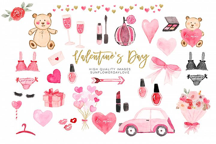 Valentines Day Planner Cliparts, Watercolor Heart Clipart