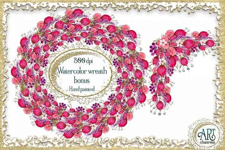 Watercolor Floral hot pink wreath - 2 arrangements