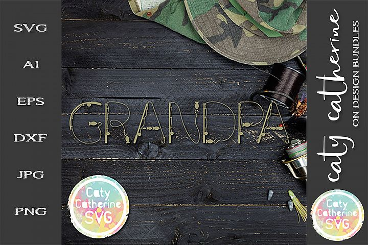 Grandpa Fathers Day Fishing Lure Word Art SVG Cut File