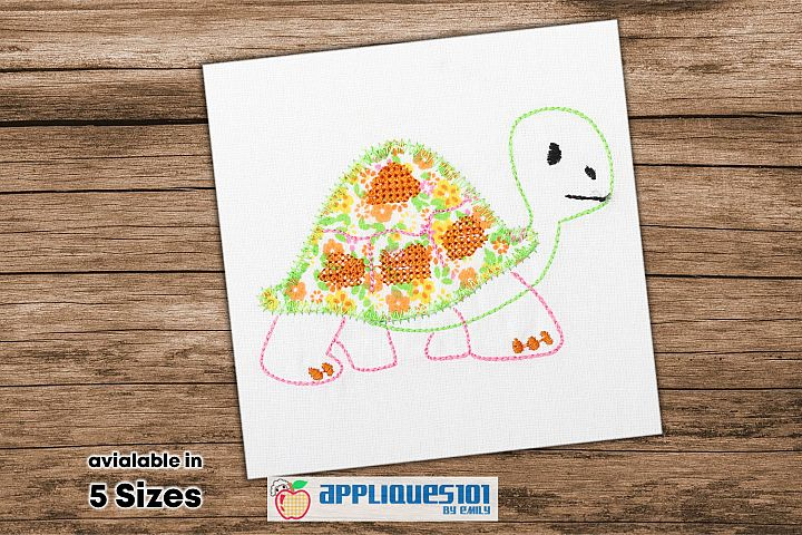 Cartoon Tortise Embroidery Applique Design - Turtles