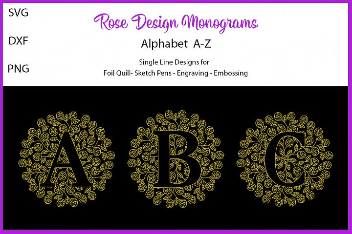 Rose Design Monograms for Foil Quill|Single Line Design