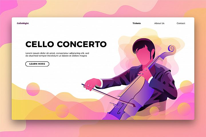 Cello Music - Banner & Landing Page