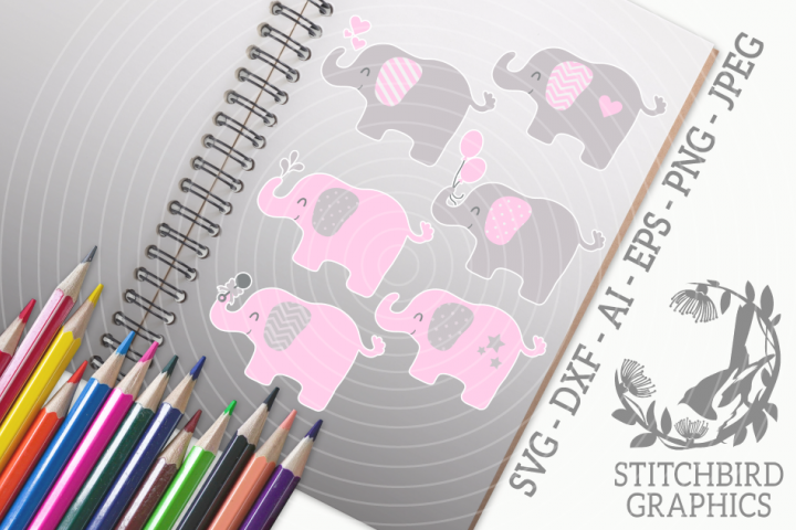 Cute Elephant Bundle - Pink SVG, Silhouette Studio, Cricut