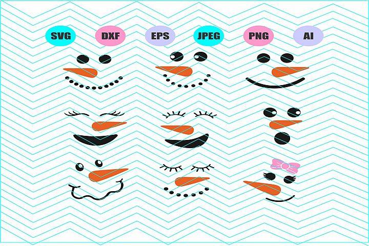 Snowman face Svg Vector File Cricut Design Vinyl Decal