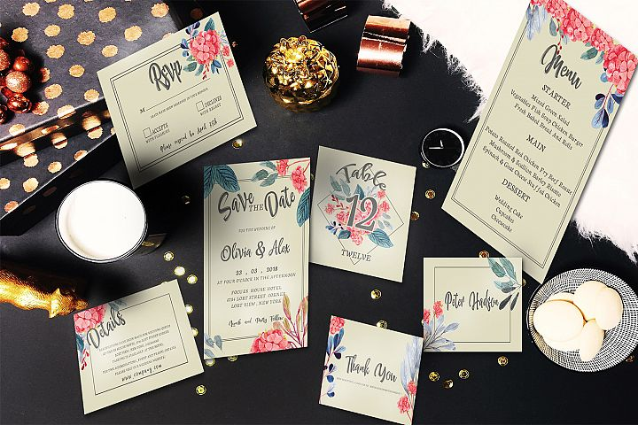 Watercolor flower invitation set
