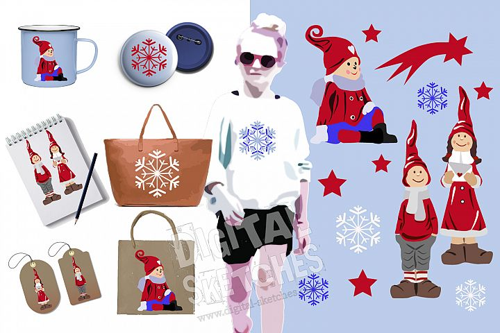Christmas Cut File Set Elf Gnome Imp Stars Vector Silhouette