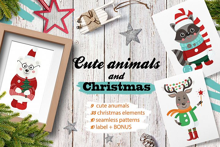 Cute animals and Christmas