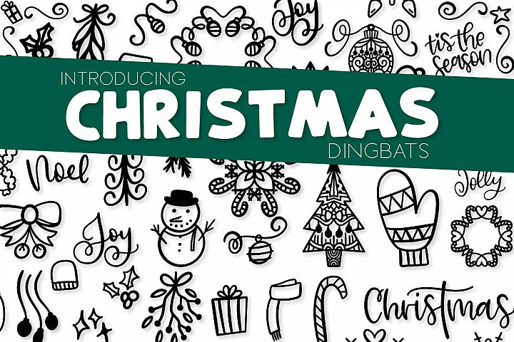 Christmas Dingbats - A Christmas Doodle Font!