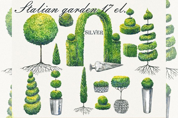 Tree clipart, garden clipart, Topiary clipart