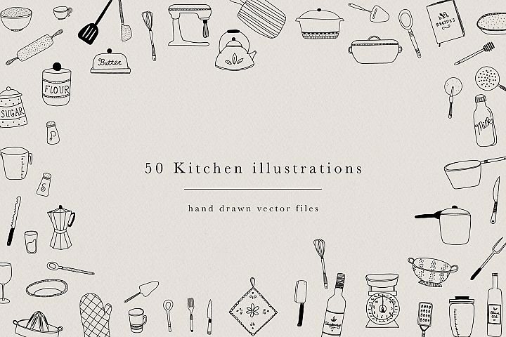 Kitchen Hand Drawn Illustrations Utensils Pots Pans Clipart