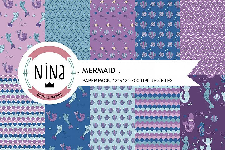 Mermaid digital paper pack, nautical paper packs.
