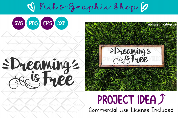 Dream svg, Dreaming is Free Svg, Free Svg, Cute Svg
