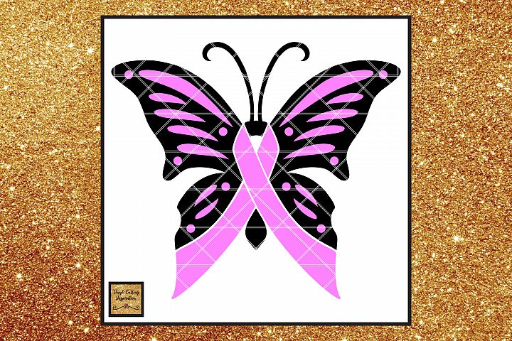 Breast Cancer Awareness Ribbon Butterfly SVG, Cancer Ribbon