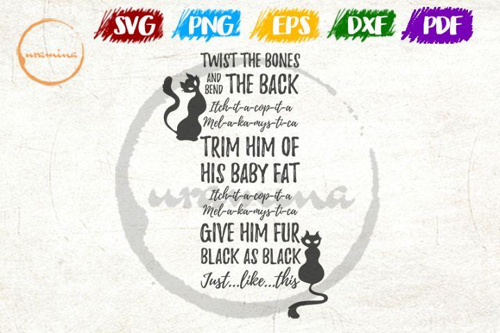 Black Cat Twist The Bones SVG Cut FIles, PDF Printable