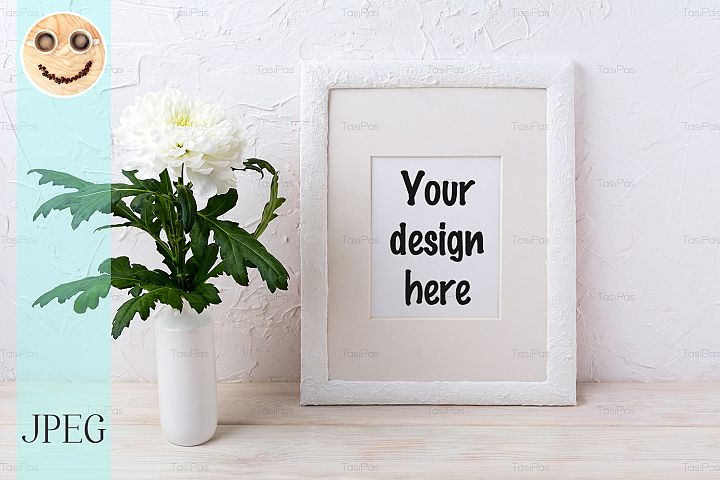 White frame mockup with chrysanthemum in vase