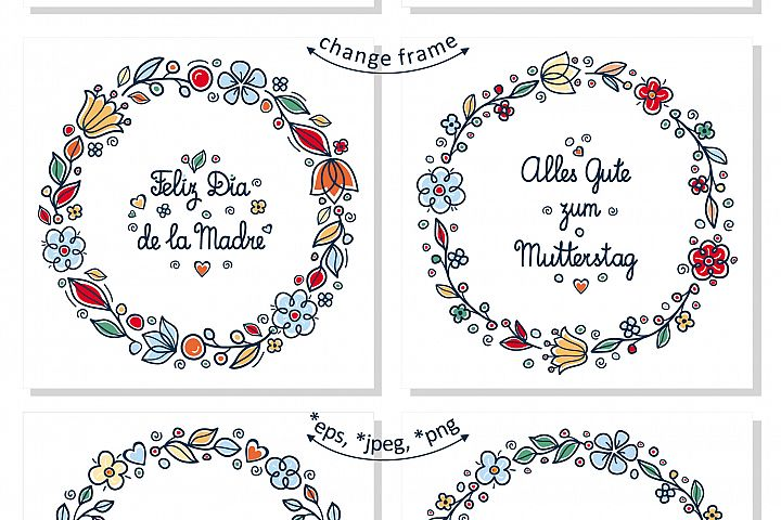 Greeting cards for Mother's Day in different languages. English, German, Finnish, Spanish, Italian, French example 3