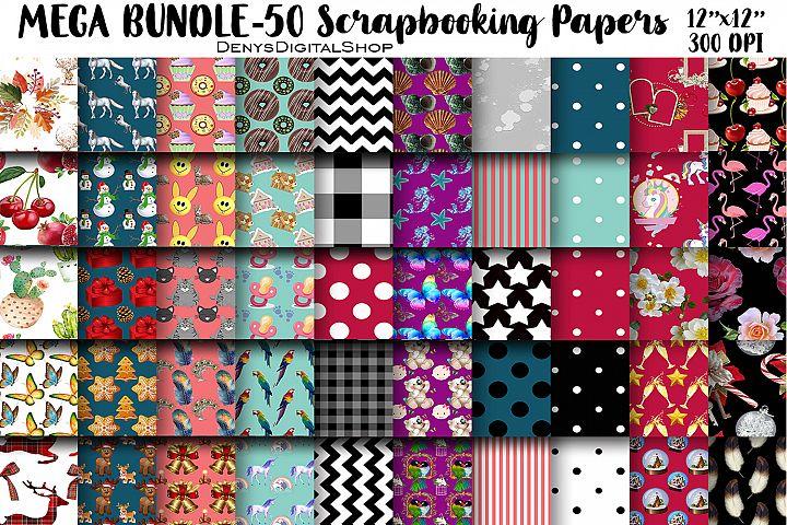 MEGA BUNDLE, 50 Digital Scrapbooking Papers, 12x12,300 DPI