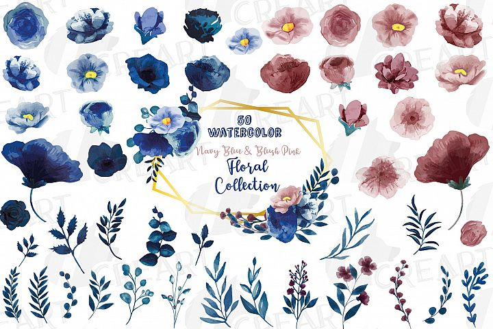 Floral navy watercolor, dark indigo and blush pink flowers