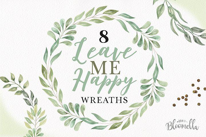 Frames Watercolor Clipart Wreaths Garlands Leaves Leaf Green
